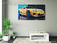 Модульная картина Фотокартина Желтый суперкар на ткани 90х150 см, арт. FA-10 001482