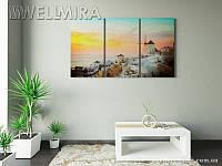 Модульная картина Фотокартина Греческая мельница на ткани 90х150 см, арт. FA-10 001476