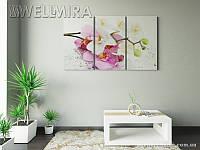 Модульная картина Фотокартина Орхидеи и дождь 2 на ткани 90х150 см, арт. FA-10 001485