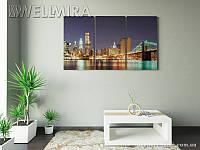 Модульная картина Фотокартина Манхэттенский мост на ткани 90х150 см, арт. FA-10 001475