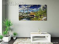 Модульная картина Фотокартина Сакура над водой на ткани 90х150 см, арт. FA-10 001480
