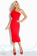 Эффектное красное женское платье футляр прилегающего фасона на одно плечо креп дайвинг