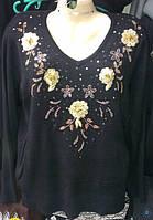 Женская кофта больших размеров цветы