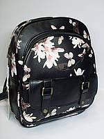 Рюкзак для школы - цвет черный с цветочным принтом