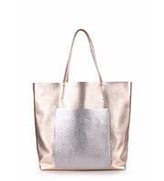 Женская кожаная сумка POOLPARTY MANIA GOLDEN SILVER золотая с серебром