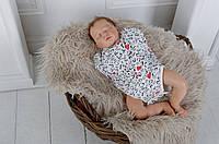 Бодик-пеленка для новорожденного Сердечки 0-3мес