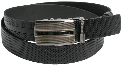 Брючный мужской кожаный ремень Skipper 5595 чёрный ДхШ: 129х3,5 см.