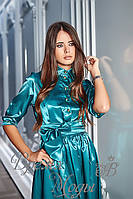 Платье женское атласное приталенное, с поясом в комплекте (бирюза)