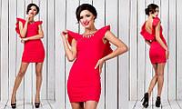 Платье Футляр украшение колье цвет красный