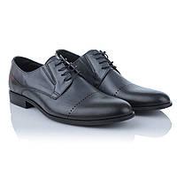 Туфли мужские кожаные черные Tapi (стильные, на шнурках, декорированные перфорацией, классический дизайн)
