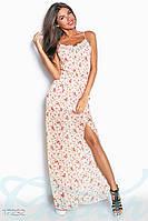 Длинный романтичный женский сарафан в пол на тонких бретелях с цветочным принтом и кружевной отделкой шифон