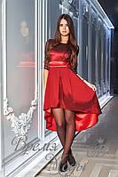 Платье асимметричное из тафты с поясом /бордовое/