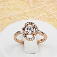 002-1541 - Замечательное кольцо с прозрачными фианитами розовая позолота, 17, 17.5 р.