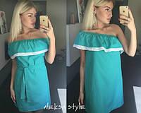 Женское модное платье с двойным воланом