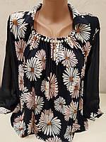 Блуза в принт ромашка с бусинками на горловине, фото 1