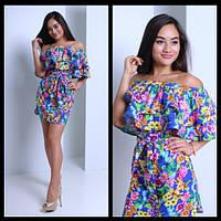 Женское очаровательное платье с открытыми плечиками и двойным воланом (2 цвета)
