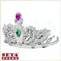 """Корона диадема """"Юная принцесса"""" с зелёным камнем на гребне маленькая"""
