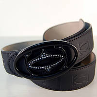 Ремень кожаный мужской Cartier черный (2921)