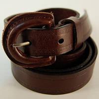 Ремень кожаный женский Italy темно-коричневый (3415)