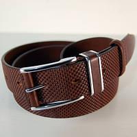 Ремень кожаный мужской JK коричневый (3111)