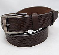 Ремень кожаный мужской JK темно-коричневый (6194)