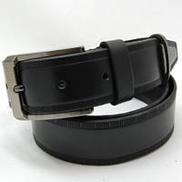 Ремень кожаный мужской Felix гладкий с тиснением черный (7688)