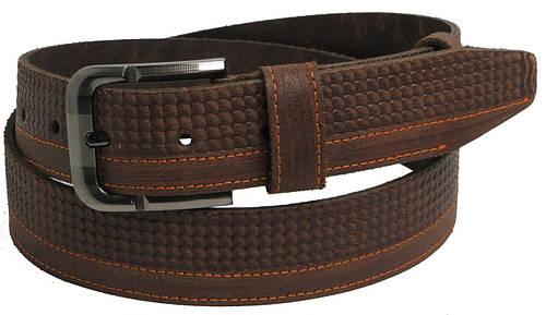 Ремень мужской кожаный под джинсы Skipper 5450 коричневый ДхШ: 127х4 см.