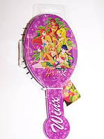 Расческа  для девочки массажная детская, феи Winx, ВИНКС,овальная,фиолетовая