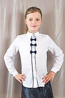 Нарядная белая школьная блуза с бантиками для девочки, хлопок