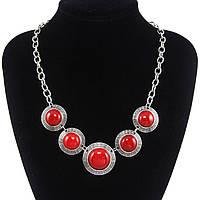 Ожерелье/колье/украшение/бусы с красными камнями, коралл