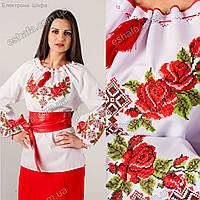 Женская вышиванка крестиком Зоряна с розами и орнаментом
