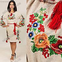 Женское вышитое платье гладью Диана с мальвами, васильками и калиной