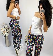 """Стильные женские брюки из дайвинга """"Микки"""""""