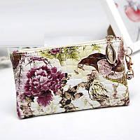Женский клатч кошелек с принтом