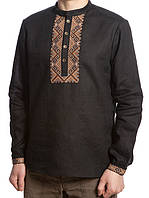 Элегантная мужская рубашка из льняной ткани черного цвета