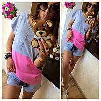 Женский летний спортивный костюм шорты и футболка
