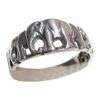 Кольцо серебряное Слоны