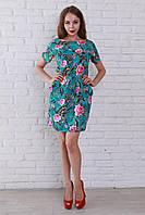 Летнее платье из штапеля бирюзовое с цветами