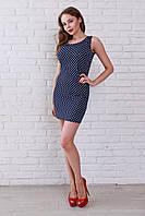 Молодежное платье темно-синее в горошек