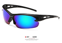 Мужские солнцезащитные очки спортивные черная оправа пластик, Очки для спорта, для велосипеда
