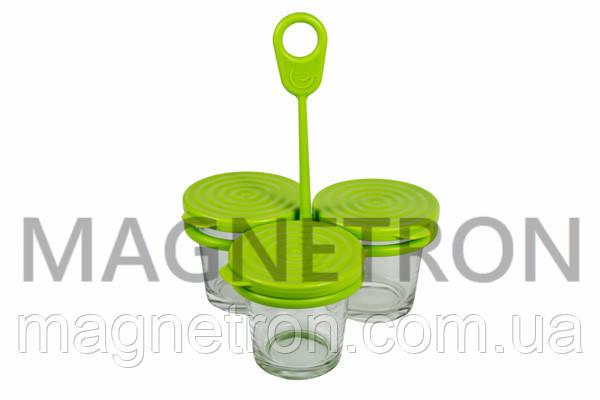 Комплект баночек круглых (3шт) с держателем для мультиварки Tefal XA500039 (аксессуар), фото 2