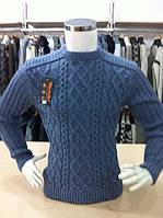 Мужской свитер плетение,рукав полоска