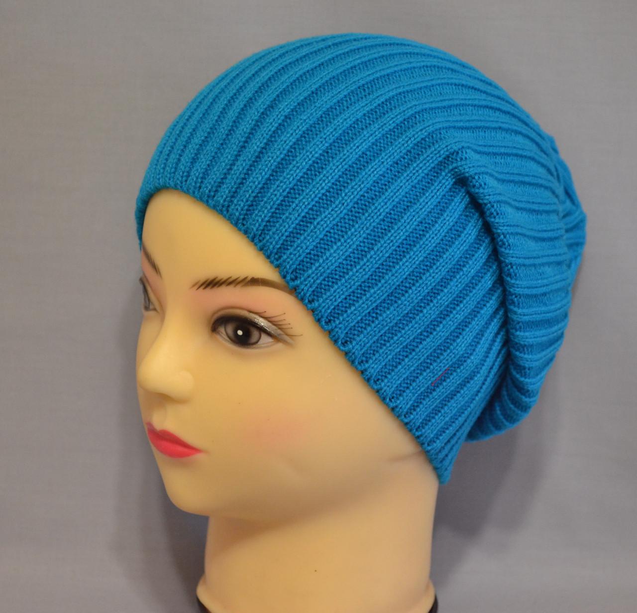 Вязание шапки спицами для молодежи 7