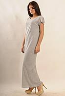 Хлопковое летнее платье в пол Круиз-Моно  цвета: серый меланж,