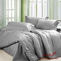 Комплект постельного белья, евро, сатин люкс, серый, однотонный