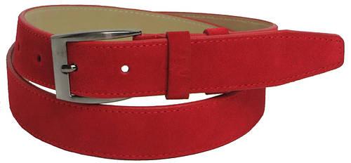 Ремень мужской замшевый под брюки Skipper 5503 красный ДхШ: 119х3,5 см.