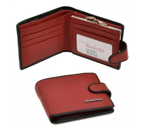 Женский кожаный удобный кошелек Classik-color Alessandro Paoli WS-516-1 red (красный)