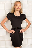 Трикотажное школьное платье для девочки (серое, черное)