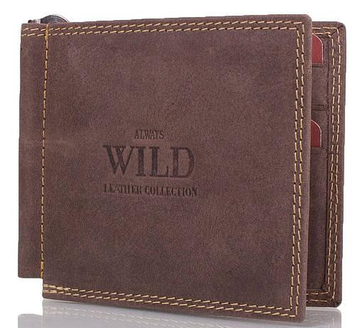 Стильный мужской зажим для купюр ALWAYS WILD (ОЛВЕЙС ВАЙЛД) DNKC2-MH-brown коричневый