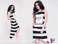 """Летнее женское асимметричное платье в полоску большого размера с хвостом """"Бэлла"""""""